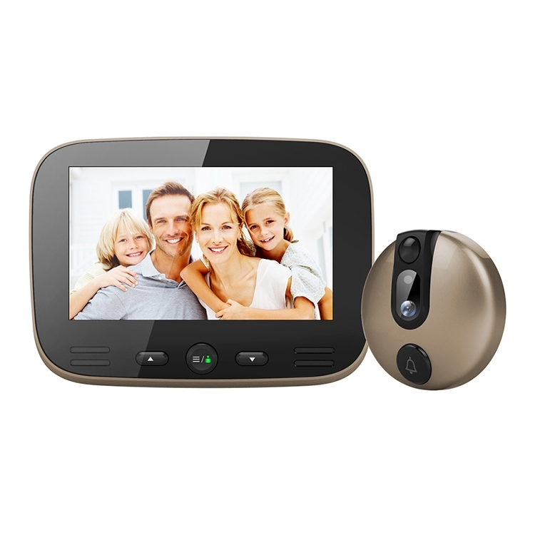 M100 4.3 inch Display Screen 2.0MP Security Camera Video Smart Doorbell, Support TF Card (32GB Max) & Night Vision & Motion Detection (Champagne Gold)