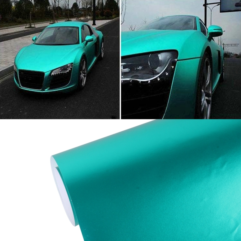 8m * 0.5m Ice Blue Metallic Matte Icy Ice Car Decal Wrap Auto Wrapping Vehicle Sticker Motorcycle Sheet Tint Vinyl Air Bubble Sticker(Tiffany Blue)