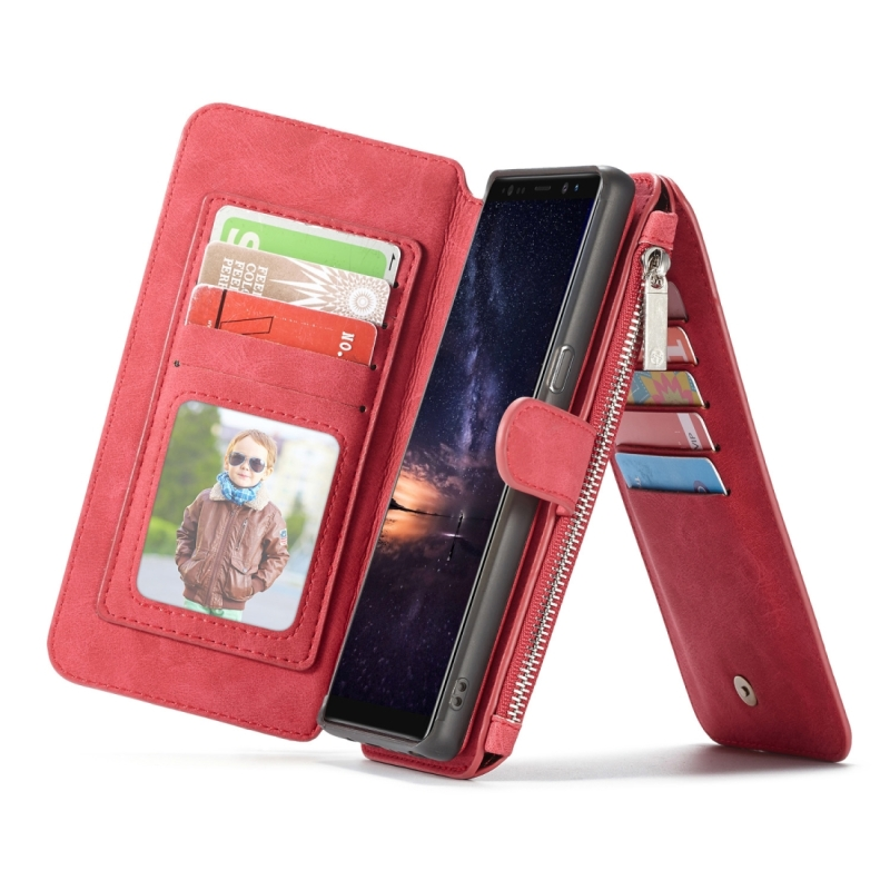 CaseMe-007 Crazy Horse Texcture Detachable Horizontal Flip Leather Case for Galaxy Note9, with Card Slot & Holder & Zipper Wallet & Photo Frame(Red) (CaseMe)