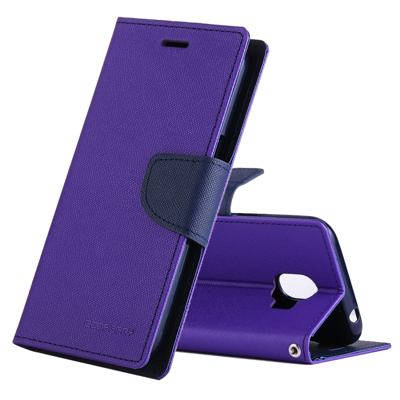 GOOSPERY FANCY DIARY Series for Galaxy J2 Pro (2018) Cross Texture Horizontal Flip Leather Case with Holder(Purple) (GOOSPERY)