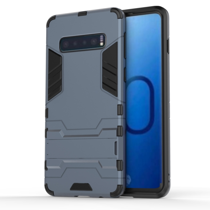 Shockproof PC + TPU Case for Galaxy S10, with Holder (Navy Blue)