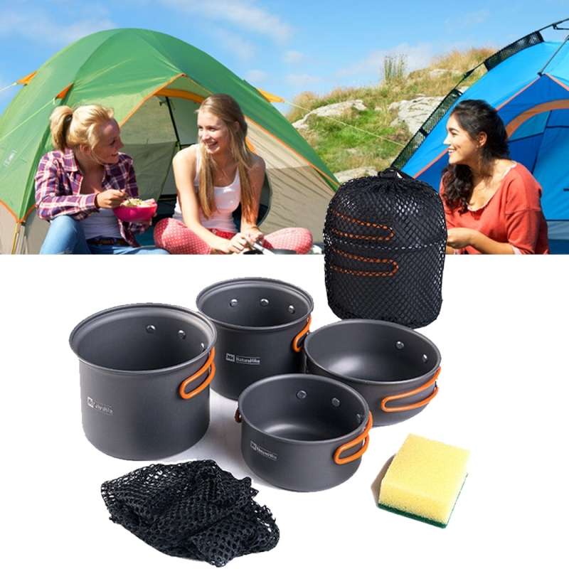 Naturehike NH15T401-G 2-3 Person Portable Outdoor Camping Cooker 4 Piece Set