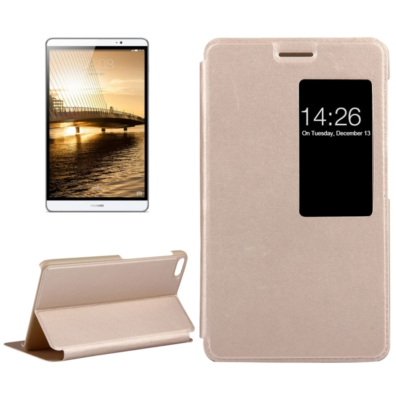 For Huawei MediaPad M2 Youth Version 7.0 Litchi Texture Horizontal Flip Leather Case with Holder & Smart Window(Gold)