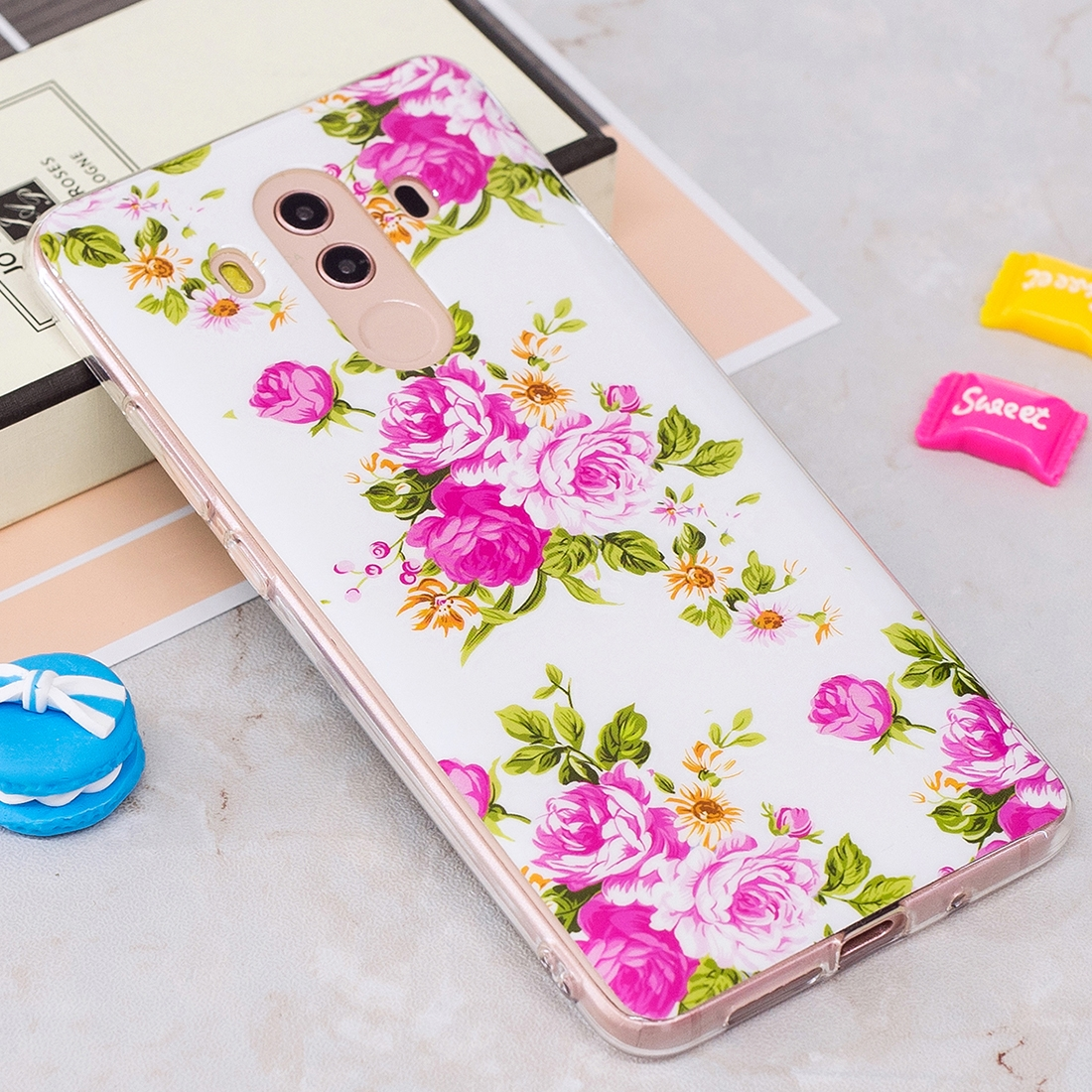 For Huawei Mate 10 Pro Noctilucent Rose Flower Pattern TPU Soft Back Case Protective Cover