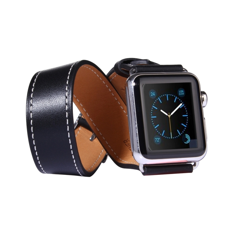 For Apple Watch 38mm Double Circle Style Metal Buckle Cowhide Leather Watchband with Connector(Black)