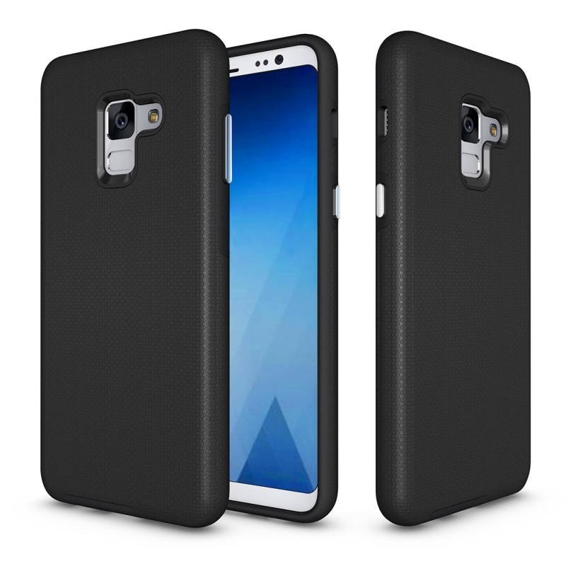 For Galaxy A8+ (2018) Anti-slip Armor Texture TPU + PC Protective Case Back Cover Shell(Black)