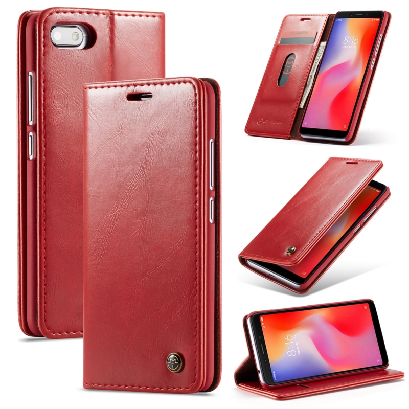 CaseMe-003 PU + PC Business Style Crazy Horse Texture Horizontal Flip Leather Case for Xiaomi Redmi 6A, with Holder & Card Slots & Wallet (Red) (CaseMe)