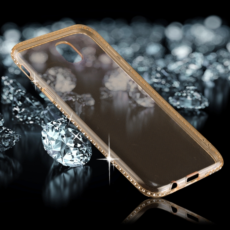 For Galaxy J7 (2017) (EU Version) Diamond Border TPU Transparent Protective Back Cover Case (Gold)