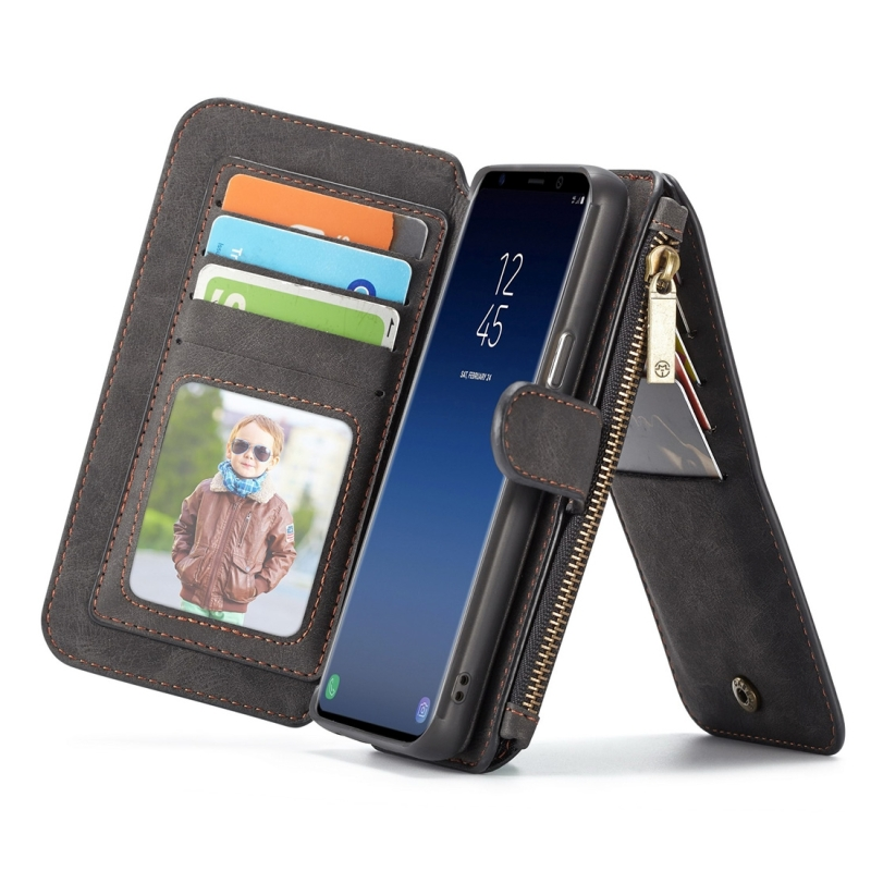 CaseMe for Galaxy S9+ Crazy Horse Texcture Detachable Horizontal Flip Leather Case with Card Slot & Holder & Zipper Wallet & Photo Frame(Black) (CaseMe)