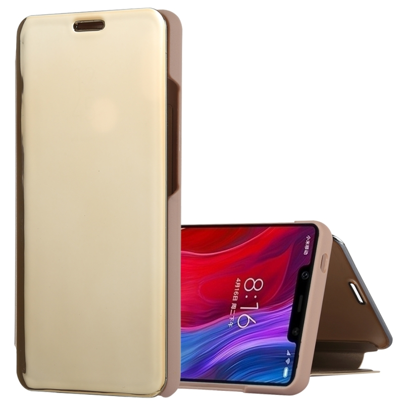 Mirror Clear View Horizontal Flip PU Leather Case for Xiaomi Mi 8 SE, with Holder (Gold)