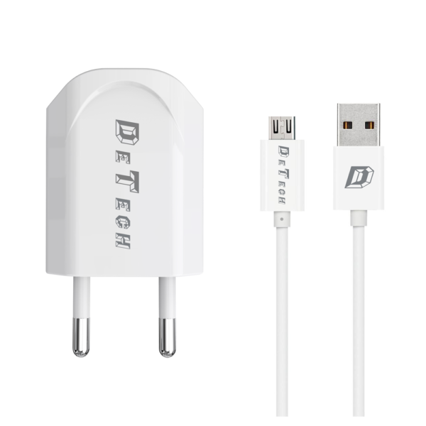 Network charger, DeTech, DE-11M, 5V/1A 220A, Universal, 1 x USB, Micro USB cable, 1.0m, White - 14115