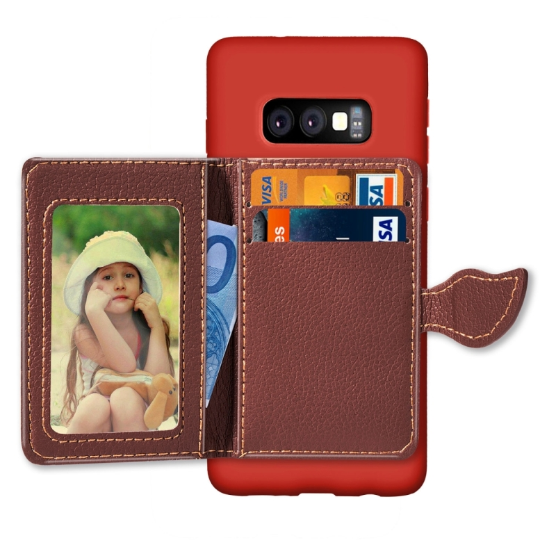 Leaf Magnetic Snap Litchi Texture TPU Protective Case for Galaxy S10e, with Card Slots & Holder & Wallet (Red)