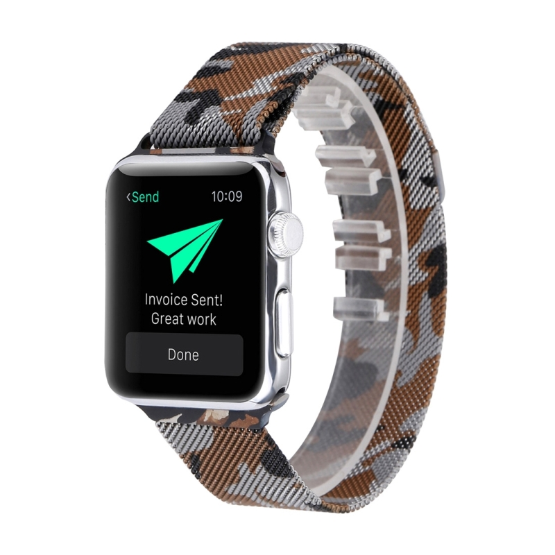 Print Milan Steel Wrist Watch Band for Apple Watch Series 3 & 2 & 1 38mm (Camouflage Coffee)