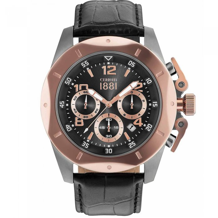 Ρολόι CERRUTI 1881 Pusiano Rose Gold Black Leather Chronograph  CRA182SUR61BK e-jewels.gr 72b3e2786ba