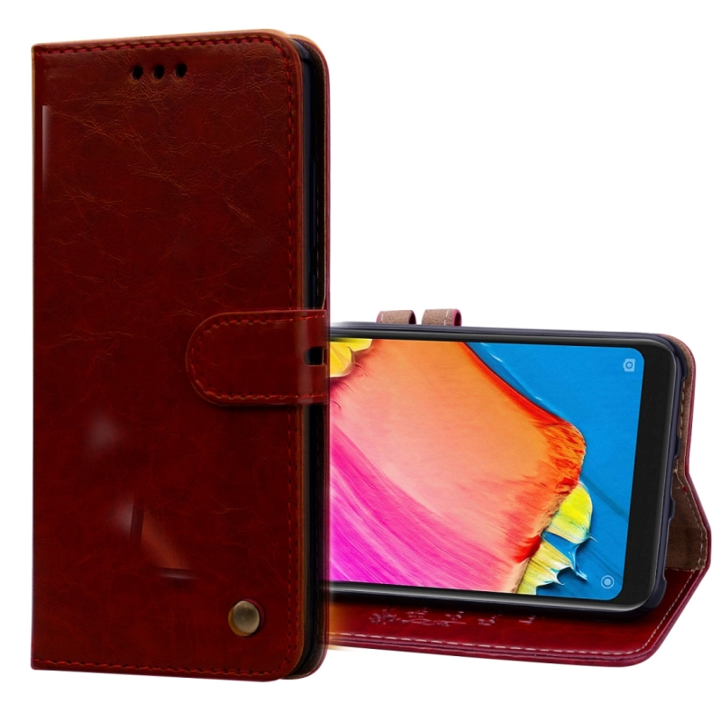 Business Style Oil Wax Texture Horizontal Flip Leather Case for Xiaomi Redmi Note 6 Pro, with Holder & Card Slots & Wallet(Red)