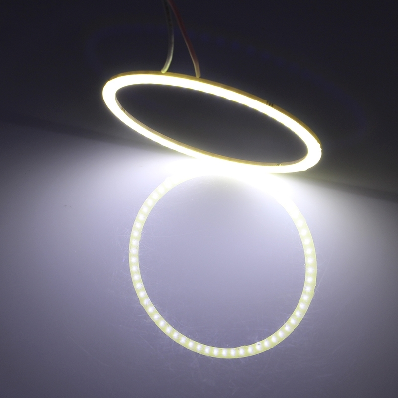 90mm 5W 180LM Angel Eyes Circles Car Headlight White Light COB LED Lights for Vehicles, DC 12-24V
