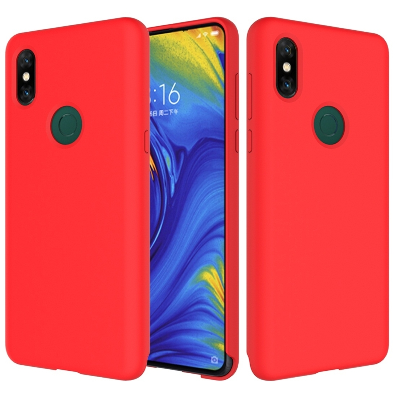 Solid Color Liquid Silicone Dropproof Protective Case for Xiaomi Mi Mix 3 (Red)