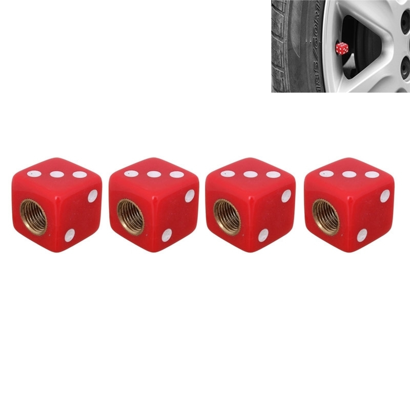 Universal 8mm Dice Style Plastic Car Tire Valve Caps, Pack of 4(Red)