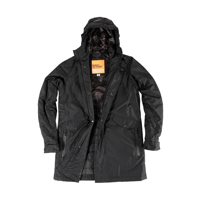 86c18beaffdb ΜΠΟΥΦΑΝ ΑΝΔΡΙΚΟ - MEN HEAVY WEIGHT PARKA (BLACK) - BODY ACTION Sport-e  (Embonilo Hellas group)