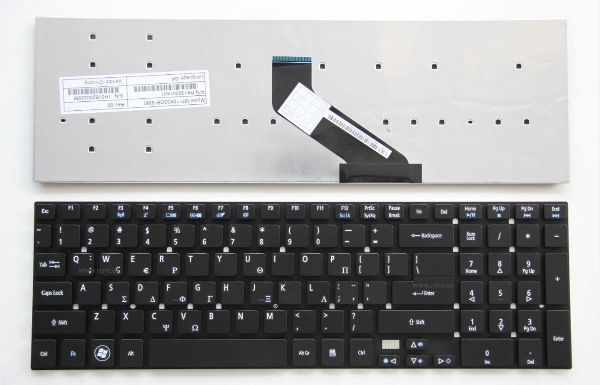 Πληκτρολόγιο Ελληνικό - Greek Keyboard Laptop ACER Aspire MP-10K33U4-4421w ES1-512 ES1-711 ES1-711G nk.i1713.05q E5-571 E5-572 E5-531 GR VERSION GK BLACK (Κωδ.40032GR)