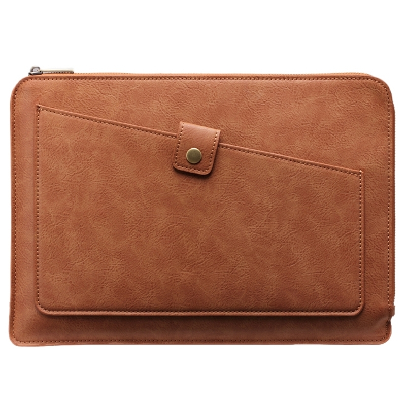 Universal PU Leather Business Laptop Tablet Zipper Bag, For 15.4 inch and Below Macbook, Samsung, Lenovo, Sony, DELL Alienware, CHUWI, ASUS, HP(Brown)