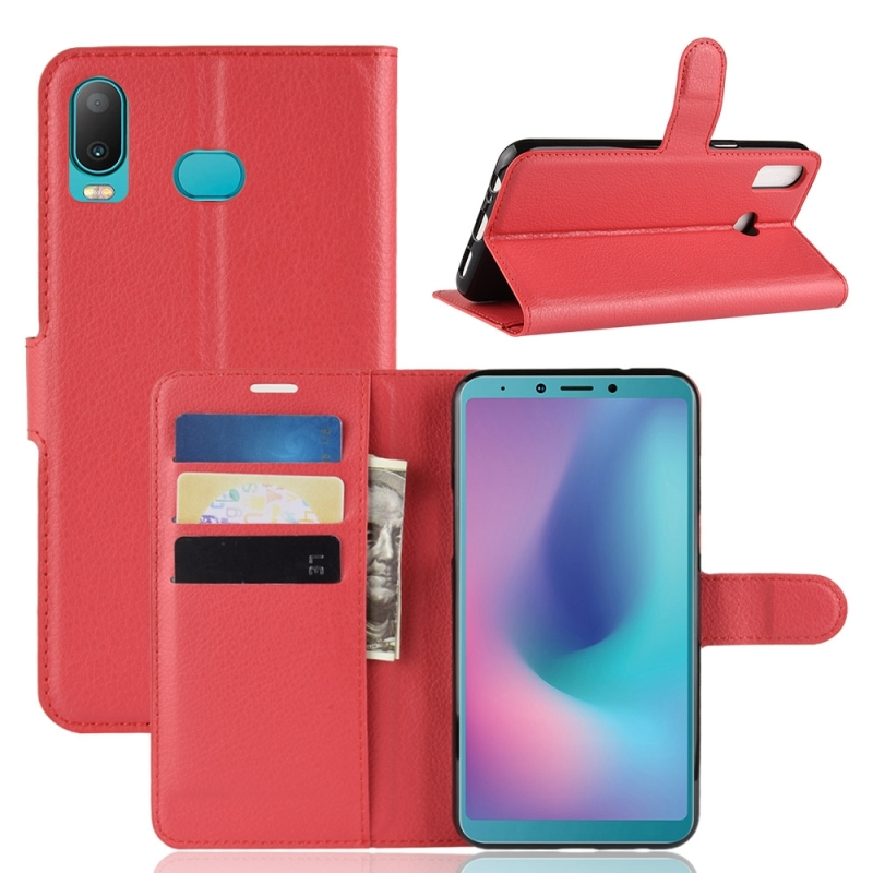Litchi Texture Horizontal Flip Leather Case for Galaxy A6S, with Holder & Card Slots & Wallet(Red)