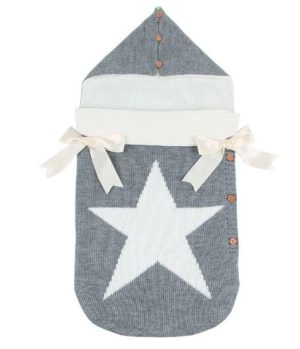 Newborns Five Star Knitted Sleeping Bags Winter, Color: Gray