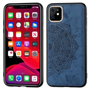 Embossed Mandala pattern PC + TPU + Fabric Phone Case for iPhone 11 , with Lanyard & Magnetic(Blue)