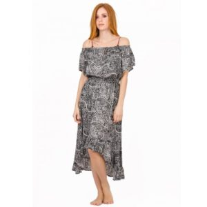 Φόρεμα JALOUX Black-White Viscose Off Shoulder Maxi Ασύμμετρο - One Size - TAG364-3 TAG364-3