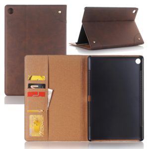 For Huawei MediaPad M5 10.8 inch Vintage Book Style Horizontal Flip Environmental PU Leather Case with Holder & Card Slots & Wallet & Photo Frame(Coffee)