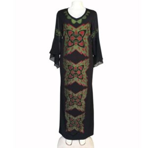 Stretch High Chiffon Slim Fishtail Long Dress, Size:L(Black)