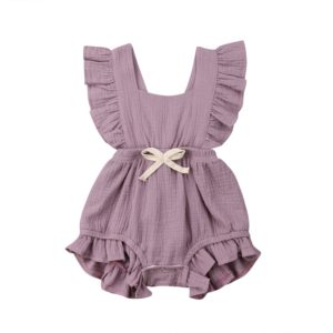 Baby Solid Color Sleeveless Ruffled Jumpsuit Back Strap Romper, Size:70cm(Purple)