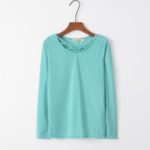 Cross Collar Long Sleeve Female T-shirt (Color:Green Size:XL)