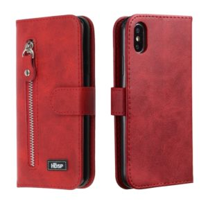 For iPhone XR Zipper Horizontal Flip Leather Case with Wallet & Holder & Card Slots(Red)