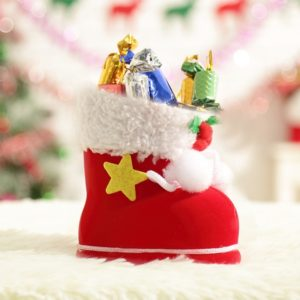 Santa Pattern Christmas Decoration Flocking Stocking Boot Candy Bag, Size: 9cm x 10cm x 5cm