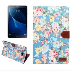 For Galaxy Tab A 10.1 / T580 Flower Pattern Cloth Surface Horizontal Flip Leather Case with Card Slots & Holder & Wallet & Photo Frame(Blue)