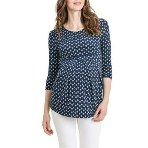 Printed Pregnant Maternity Blouse Clothes, Size:XL(Dark Blue Dots)