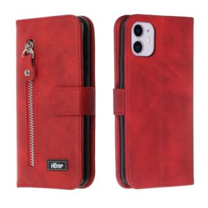 For iPhone 11 Pro Max Zipper Horizontal Flip Leather Case with Wallet & Holder & Card Slots(Red)