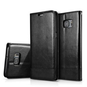 For Galaxy S7 Double-sided Absorption Splicing Horizontal Flip Leather Case with Holder & Card Slots & Lanyard(Black)