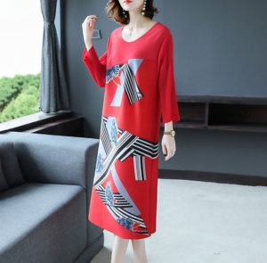 Long Section Of Thin Printing Qualities Loosely Pleated Dress Word A(Color:Pink Size:One Size)