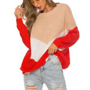 Hinged Knit Net Stitching Loose Sweater Round Neck Bottoming Shirt for Women (Color:Red Size:XL)
