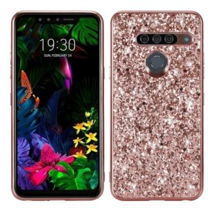 Glitter Powder Shockproof TPU Protective Case for LG G8 ThinQ(Rose Gold)