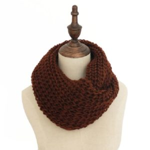 Autumn and Winter Knit Solid Color Thick Wool Thickened Warm Scarf(Brown)
