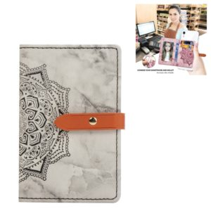 Mobile Phone Universal Thin Buckled Mandala Leather Card Slot & Wallet & Holder & Photo Frame(Black)