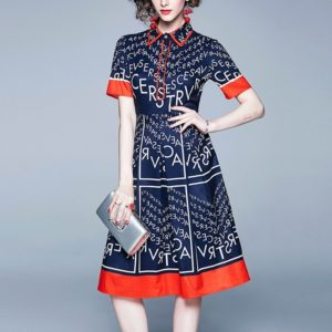 Letters Printing Mixed Colors Waist Thin Dress (Color:Dark Blue Size:M)