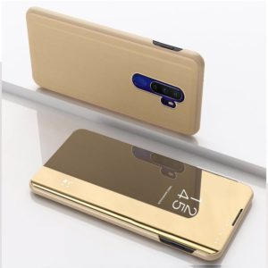 For OPPO A11 / A9 (2020) Plated Mirror Horizontal Flip Leather Case with Holder(Gold)
