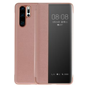 Litchi Texture PC + PU Horizontal Flip Case for Huawei P30 Pro, with Touch Call Display ID&Sleep/Wake-up Function (Pink)