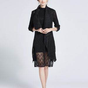 Fashion Lace Hollow Thin Cloak Shawl Cardigan Jacket And Long Sections (Color:Black Size:One Size)