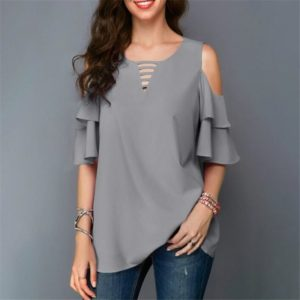 Round Neck Strapless Trumpet Sleeves Loose Chiffon Shirt, Size:M(Gray)