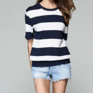 Spring Fashion Women Striped Short-sleeved Sweater T-shirt, Size: L(Dark Blue and White)